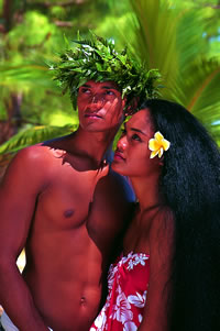 A couple in Tahiti, French Polynesia