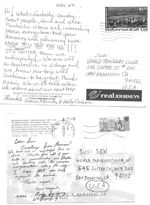 Postcards from World Travellers' Club Clients